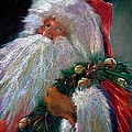 SANTA CLAUS with Sleigh Bells and Wreath  Poster by Shelley Schoenherr