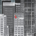 Santa Clause Running On A Skyscraper Poster by Jutta Kuss