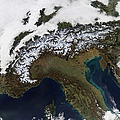Satellite View Of The Alps Poster by Stocktrek Images