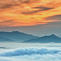 Sea Of Clouds By Sunrise Print by SJ. Kim