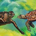 Sea Turtles and Dolphins Print by Susan Kubes