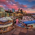Seattle Waterfront At Sunset Poster by Photo by David R irons Jr