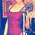 Sequined Self Portrait Print by Heather Kirk
