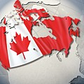 Shape And Ensign Of Canada On A Globe Poster by Dieter Spannknebel