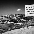 sign overlooking pyla and turkish controlled territory marking entrance of SBA Sovereign Base area Print by Joe Fox