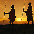 Silhouetted Laikipia Masai Guides Poster by Richard Nowitz