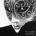 Silver Flair Mask - BW Poster by Patty Vicknair