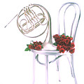 Silver French horn on silver chair Print by Garry Gay