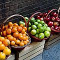 Six Baskets Of Assorted Fresh Fruit Poster by Todd Gipstein