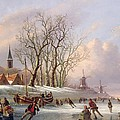 Skaters on a Frozen River before Windmills Poster by Dutch School