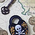 Skull and cross bones lock Print by Garry Gay