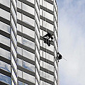 Skyscraper Window-Washers - Take a walk in the clouds Print by Christine Till