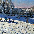 Sledging Near Youlgreave Print by Andrew Macara