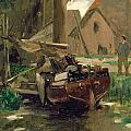 Small Harbor with a Boat  Print by Thomas Ludwig Herbst