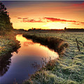 Small River At Sunrise Print by H-L-Andersen