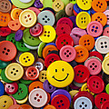 Smiley face button Print by Garry Gay
