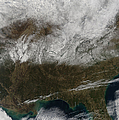 Snow Cover Stretching From Northeastern Print by Stocktrek Images