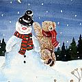 Snowman in top hat Print by Gordon Lavender