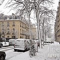 Snowy Day in Paris Print by Louise Heusinkveld
