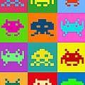 Space Invaders Squares Print by Michael Tompsett