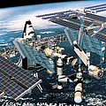Space Shuttle Docked At The Space Station In Outer Space Poster by Stockbyte
