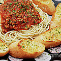 Spaghetti And Meat Sauce With Garlic Toast  Poster by Andee Design