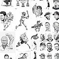 Sports Figures Collage Print by Murphy Elliott