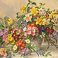 Spring Flowers and Poole Pottery Print by Albert Williams