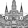 St Louis Cathedral on Jackson Square in the French Quarter New Orleans Photocopy Digital Art Print by Shawn OBrien