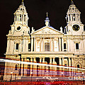 St. Paul's Cathedral in London at night Poster by Elena Elisseeva