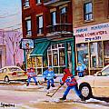 St. Viateur Bagel with boys playing hockey Poster by CAROLE SPANDAU