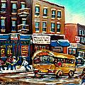 ST. VIATEUR BAGEL WITH HOCKEY BUS  Print by CAROLE SPANDAU