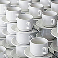 Stacks Of Cups And Saucers Print by Tobias Titz