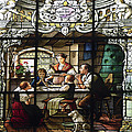 Stained Glass Family Giving Thanks Print by Sally Weigand