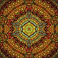 Stained Glass Gas Ring Mandala Poster by Richard H Jones