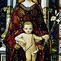 Stained glass window of the Madonna and Child Print by Sami Sarkis