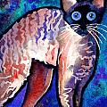 Startled Cornish Rex Cat Print by Svetlana Novikova