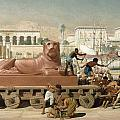 Statue of Sekhmet being transported  detail of Israel in Egypt Print by Sir Edward John Poynter