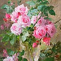Still life of roses in a glass vase  Poster by Frans Mortelmans