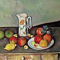Still life with milkjug and fruit Print by Paul Cezanne