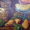 Still Life with Pears and Melons Poster by Hilda Schreiber