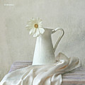 Still Life With White Flower Print by by MargoLuc