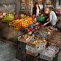 Storefront - Hoboken NJ - Picking out fresh fruit Print by Mike Savad