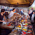 Storefront - The open air Tea and Spice market  Poster by Mike Savad