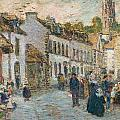 Street in Pont Aven Print by Childe Hassam