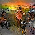 Street Musicians in Prague in the Czech Republic 03 Print by Miki De Goodaboom