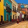 Street of Color Guanajuato 4 Poster by Olden Mexico