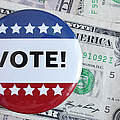 Studio Shot Of Vote Pin And One Dollar Banknotes Poster by Winslow Productions