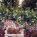 Sumptous Cascading Roses Print by David Lloyd Glover