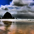 Sun Shining on Haystack Rock Poster by David Patterson